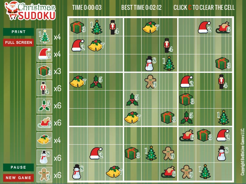 Free randomly generated Christmas Sudoku
