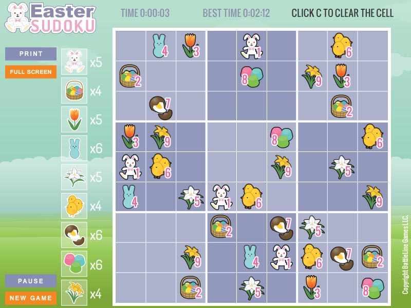 Free randomly generated Easter Sudoku.