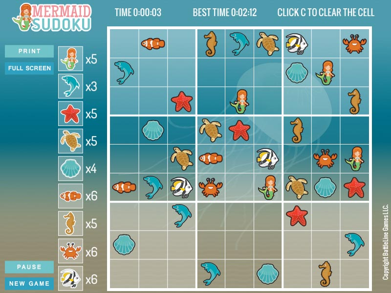 Free randomly generated Mermaid Sudoku.
