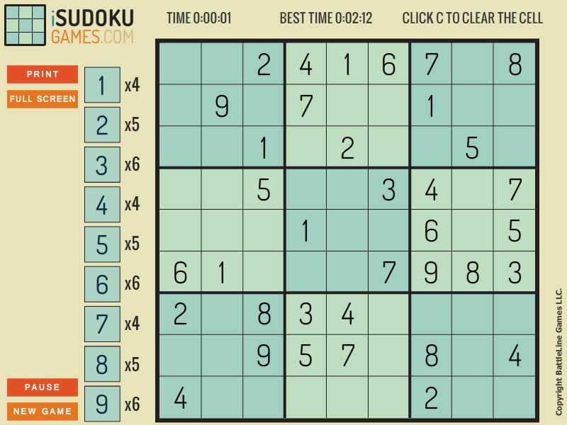 Free randomly generated sudoku puzzles.